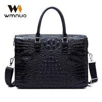 Wmnuo 2018 Men Bag Casual Briefcase Business Shoulder Bag Genuine Leather Combination Lock Crocodile Grain Computer Bag Laptop