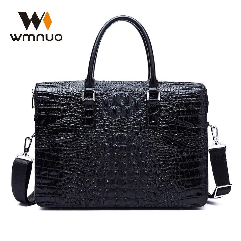 Wmnuo Bag Men Business Briefcase Shoulder Bag Crocodile Pattern Genuine Leather Men Handbag Password Lock Computer Bag Best Sale