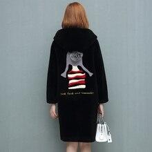 Winter mouton Coat for woman female jacket fur coat women's winter jackets real fur women's fur coats girl back Big hat 2018