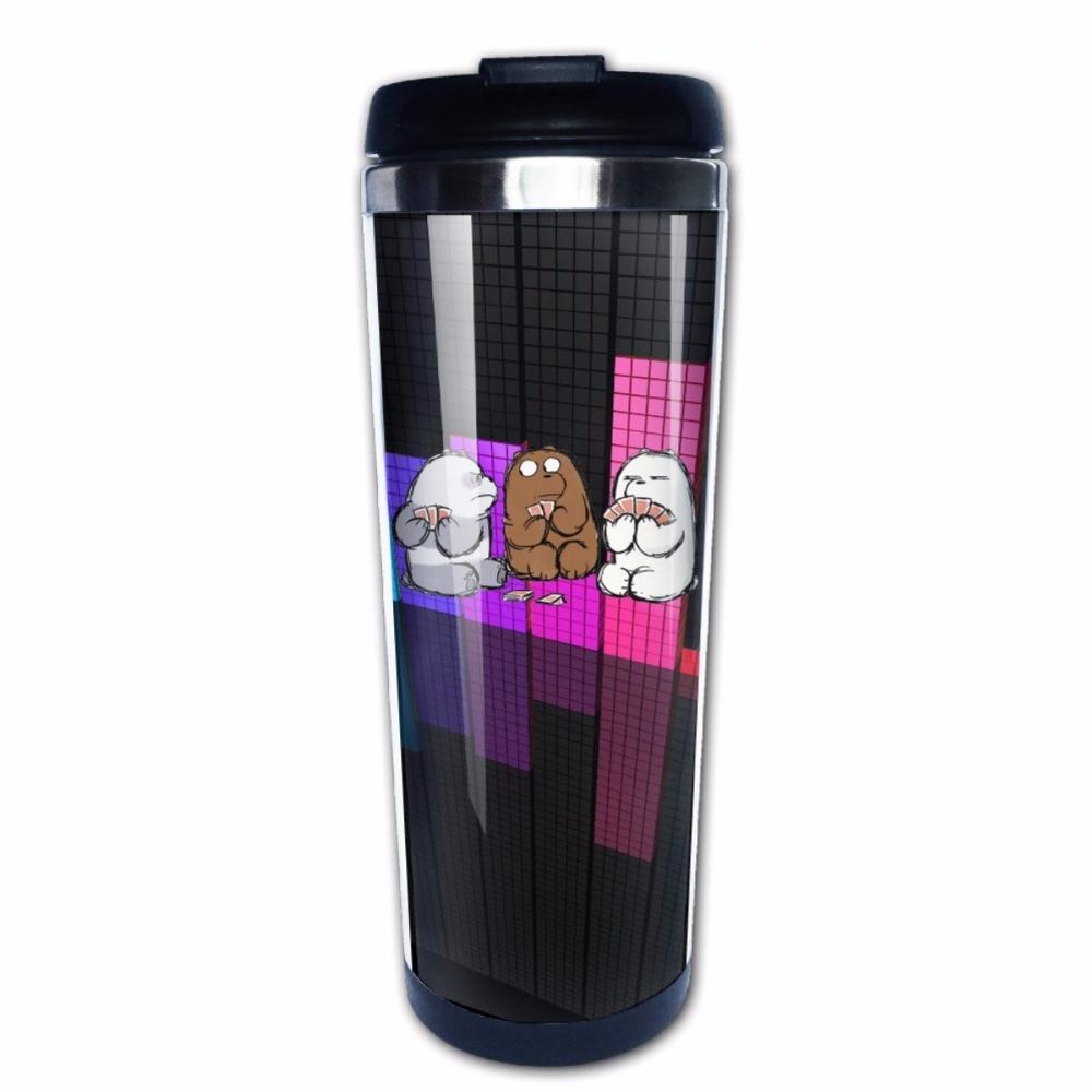 We Bare Bears DIY Stainless Steel Coffee Mug Leak Proof Travel Cup Funny Mug