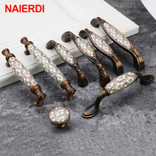 цена на NAIERDI Vintage Bronze Ceramic Cabinet Handles Antique Drawer Knobs Wardrobe Door Handles European Furniture Handle Hardware