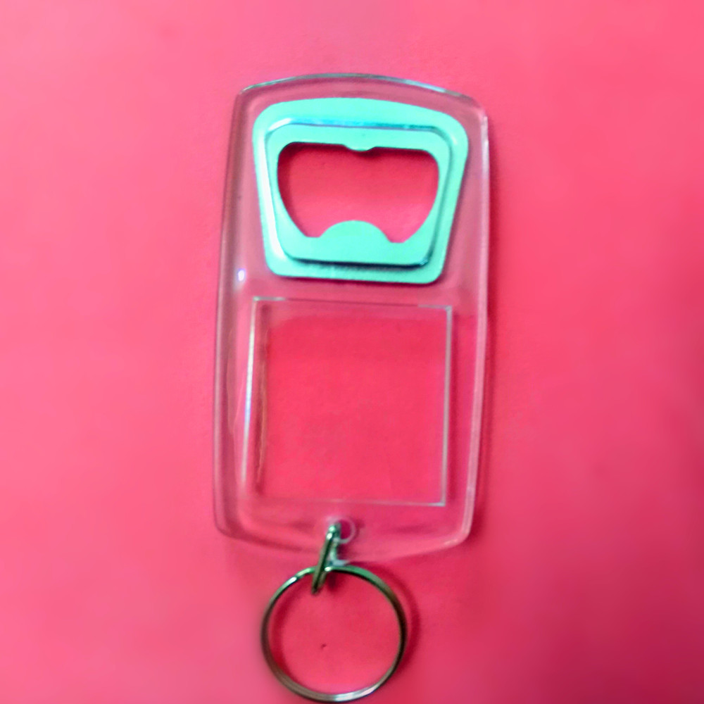 100pcs lot New Plastic Blank Acrylic Keychains with Bottle Opener Blank Photo Frame Keyrings for Gifts