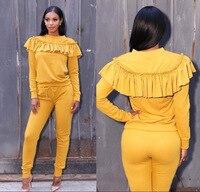 Atacado comércio exterior mulheres bodysuit macacão amarelo ruffles roupa sexy macacão 2 peça macacão mulheres 1125