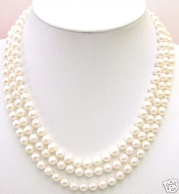 SHIPPING3 Strings AAA+ 7MM AKOYA SALTWATER PEARL NECKLACE (A0322)
