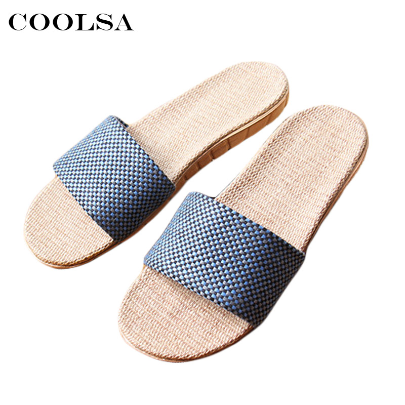 Coolsa Hot Summer Man beach Sandals Linen slippers Flax Plaid Fabric Flat Non Slip Unisex Home Flip Flop Man Casual Straw Shoes coolsa new summer linen women slippers fabric eva flat non slip slides linen sandals home slipper lovers casual straw beach shoe page 3