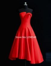 Einfache A-line Satin Cocktailkleid Sommer Kleider 2016 Real Photo Liebsten Plissee Cocktail Party Kleid Tee Länge SC01