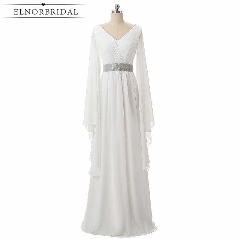 Elnorbridal Real Photo White Elegant Evening Dresses Arabic Long Sleeves  2019 Moroccan Kaftan Wedding Guest Dress 057495e4e006