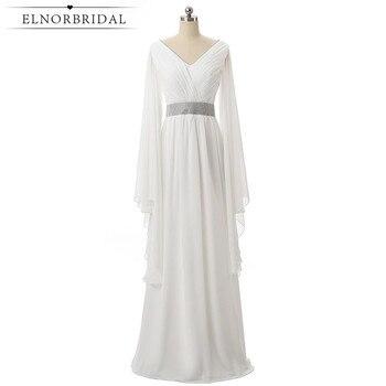 Elnorbridal Real Photo White Elegant Evening Dresses Arabic Long Sleeves 2020 Moroccan Kaftan Wedding Guest Dress