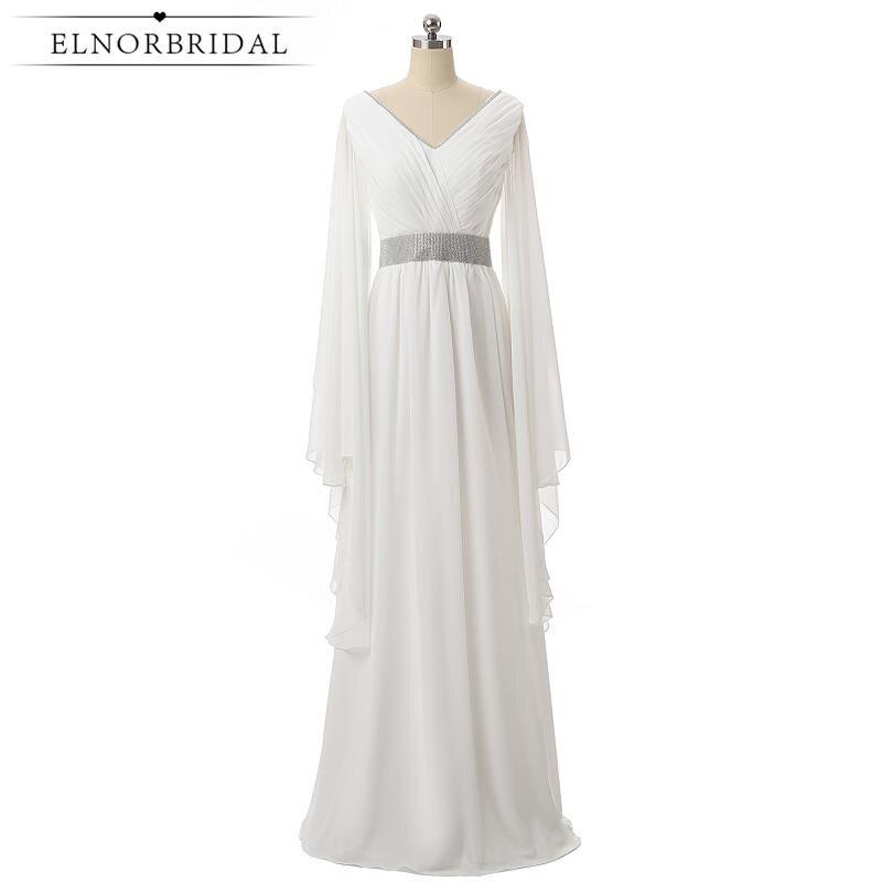 Elnorbridal Real Photo White Elegant Evening Dresses Arabic Long Sleeves 2017 Moroccan Kaftan Wedding Guest Dress