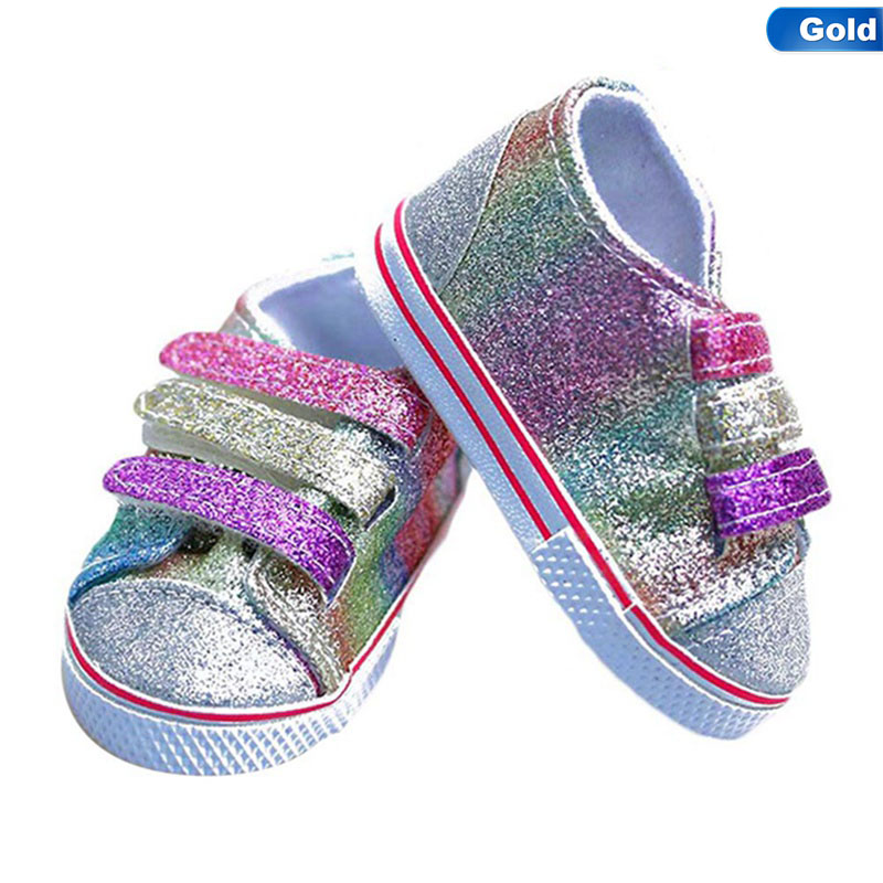 Fashion Sequins Doll Shoes Fits 18 Inch Doll 43CM Dolls Baby Doll DIY Shoes For American Doll Accessories Toy Gift