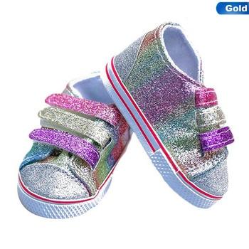 Zapatos de lentejuelas de moda para 18 pulgadas muñeca 43CM muñecas Baby Doll DIY zapatos para American Doll Girl botas Color dorado al azar