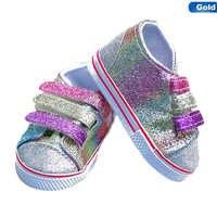 Zapatos de lentejuelas de moda se adapta a la muñeca de 18 pulgadas 43CM muñecas muñeca de Bebé Zapatos de bricolaje para la muñeca americana botas de niña de oro color al azar