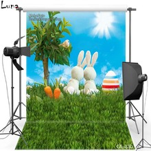 Happy Easter Vinyl Photography Background Backdrop For Newborn Cartoon Rabbit New Fabric Flannel Backdrop For photo studio 230