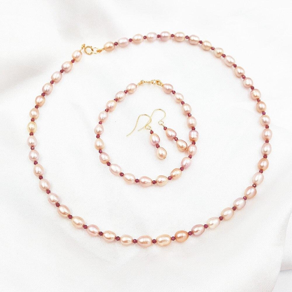 Haute brillance AA + violet rose perle d'eau douce brillant à facettes grenat 925 bijoux en argent Sterling ensemble Bracelet 7 ''/18 cm