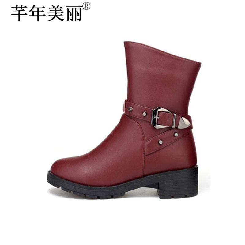 Women's Winter Boots Microfiber Mid-calf Boots Faux Fur Shoes Black Red Shoes Plus Size 35-41 WB009 double buckle cross straps mid calf boots