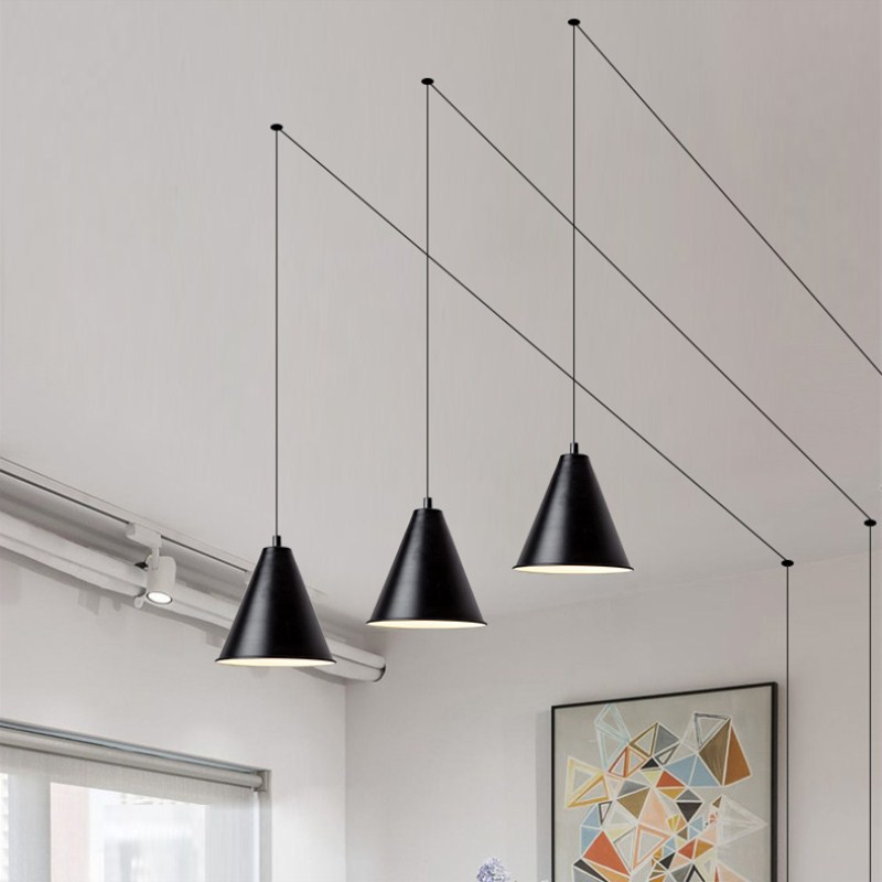 Intelligent Simple Fashion Led Luminaire Modern Pendant Light Dimming Creative Geometry Hanging Lamp Home Decor Pendant Lighting Fixtures Quality First Ceiling Lights & Fans