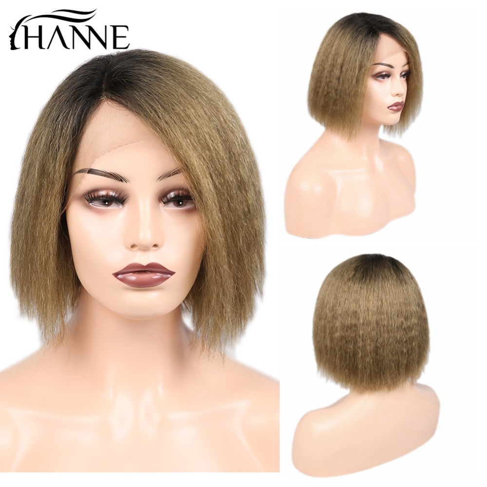HANNE Kinky Straight Human Hair Short Bob Wigs Ombre 1B-Brown Color Yaki Wig L Part Lace Front Wig For Black Women 150% Density