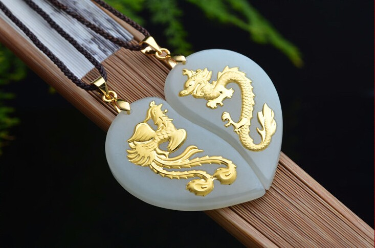 2017 and 24K Yellow gold Dragon Phoenix Pendant