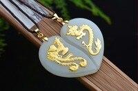 2017 e 24 K oro Giallo Ciondolo Drago Fenice