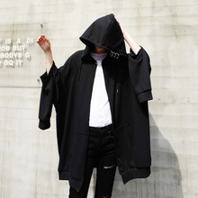 High street Stylish loose Hoodies for men With hood Special design Black color Autumn Spring