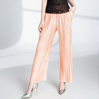 Changpleat 2018 new Autumn women trousers Miyak Pleated Glossy fabric Elastic waist Solid Loose Large Size Female Pants Tide P46