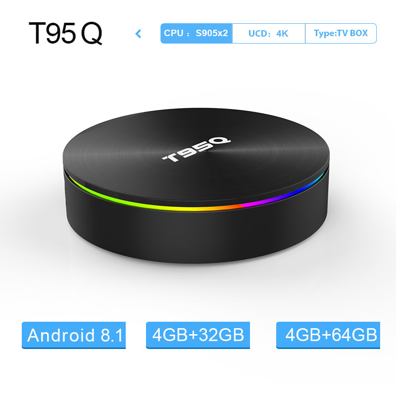 T95Q Android 8.1 TV Box 4 GB 64 GB LPDDR4 Amlogic S905X2 Quad Core 2.4G & 5 GHz Double wifi BT4.1 1000 M H.265 4 K lecteur multimédia tv box