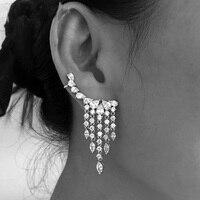 New Arrival Fashion Luxury CZ Fringe Ear Crawler Teardrop Ear Cuff Wrap Sweep Earrings 1 pair