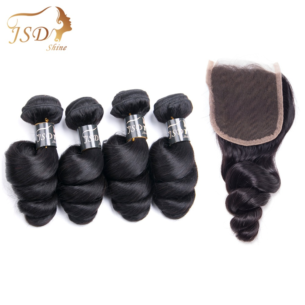 JSDShine Human Hair Indian Loose Wave Bundles With Lace Closure 4x4 Free Part Non Remy Hair Natural Color Free Shipping