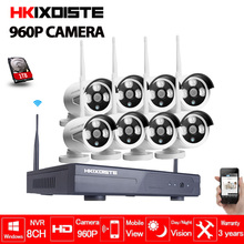 Plug & Play Wireless 8CH CCTV Camera System P2P Wireless NVR & IP Camera 960P Outdoor Bullet Wifi Surveillance System Kit