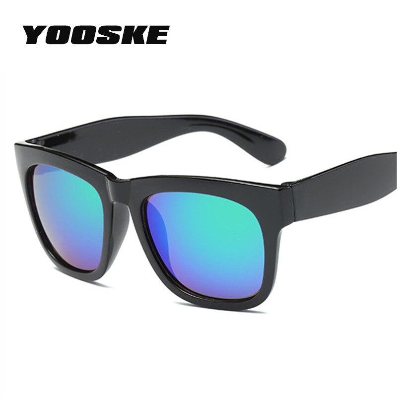 YOOSKE Retro Oversized gafas de sol hombres marco grande gafas de sol mujer marca diseñador 2018 Vintage espejo reflexión sombras gafas