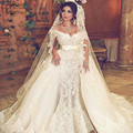 vestido de casamento 2017 Off The Shoulder Short Sleeve Lace Appliqued Pearls Mermaid Detachable Skirt Wedding Dress