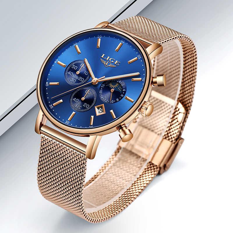 ליגע למעלה מותג אופנה יוקרה עלה זהב כחול שעוני יד מקרית אופנה נשים שעונים קוורץ שעון מתנת שעון אישה Montre Femme
