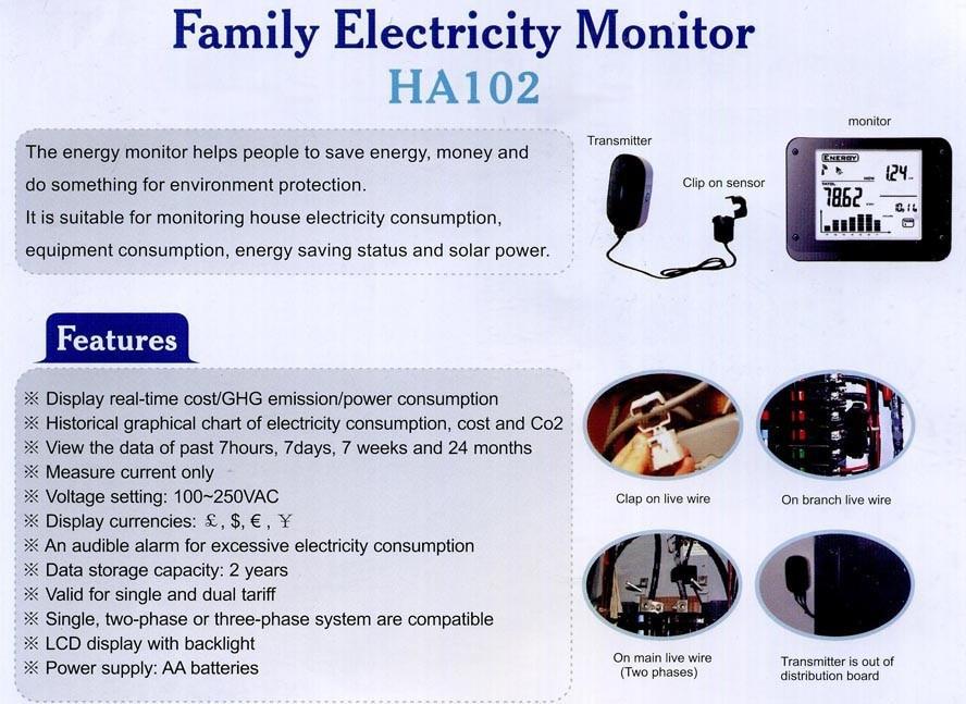 HA102 беспроводной энергетический монитор CO2 энергопотребление защита окружающей среды Save10 % счета за электричество с CT2 - 2