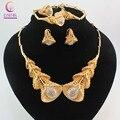 Nova Nobler Design de Moda Traje de Cristal Colar Encontrar Dubai Dubai Banhado A Ouro Conjuntos de Jóias Caixas de Jóias Lindo