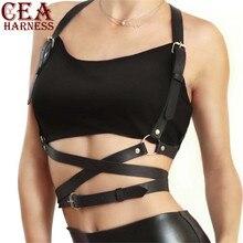 CEA.HARNESS Popular Stud Punk Goth Leather Harness Body Bondage Belt Cage Sculpting Waist Chest Belts Slim