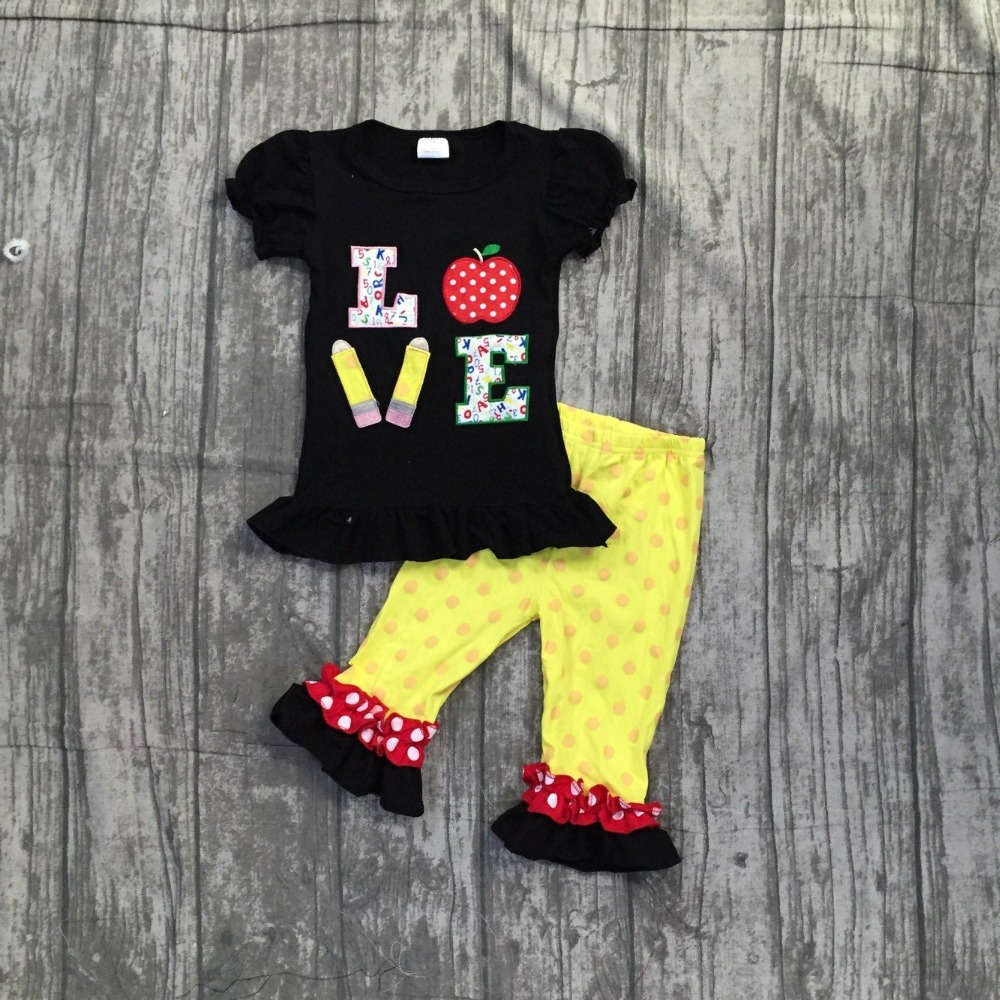 Back to school baby girls outfits boutique clothes LOVE apple pencil ruffles polka dot capris set with matching accessories kids 2016 summer baby child girls outfits ruffles shorts white striped watermelon boutique ruffles clothes kids matching headband set