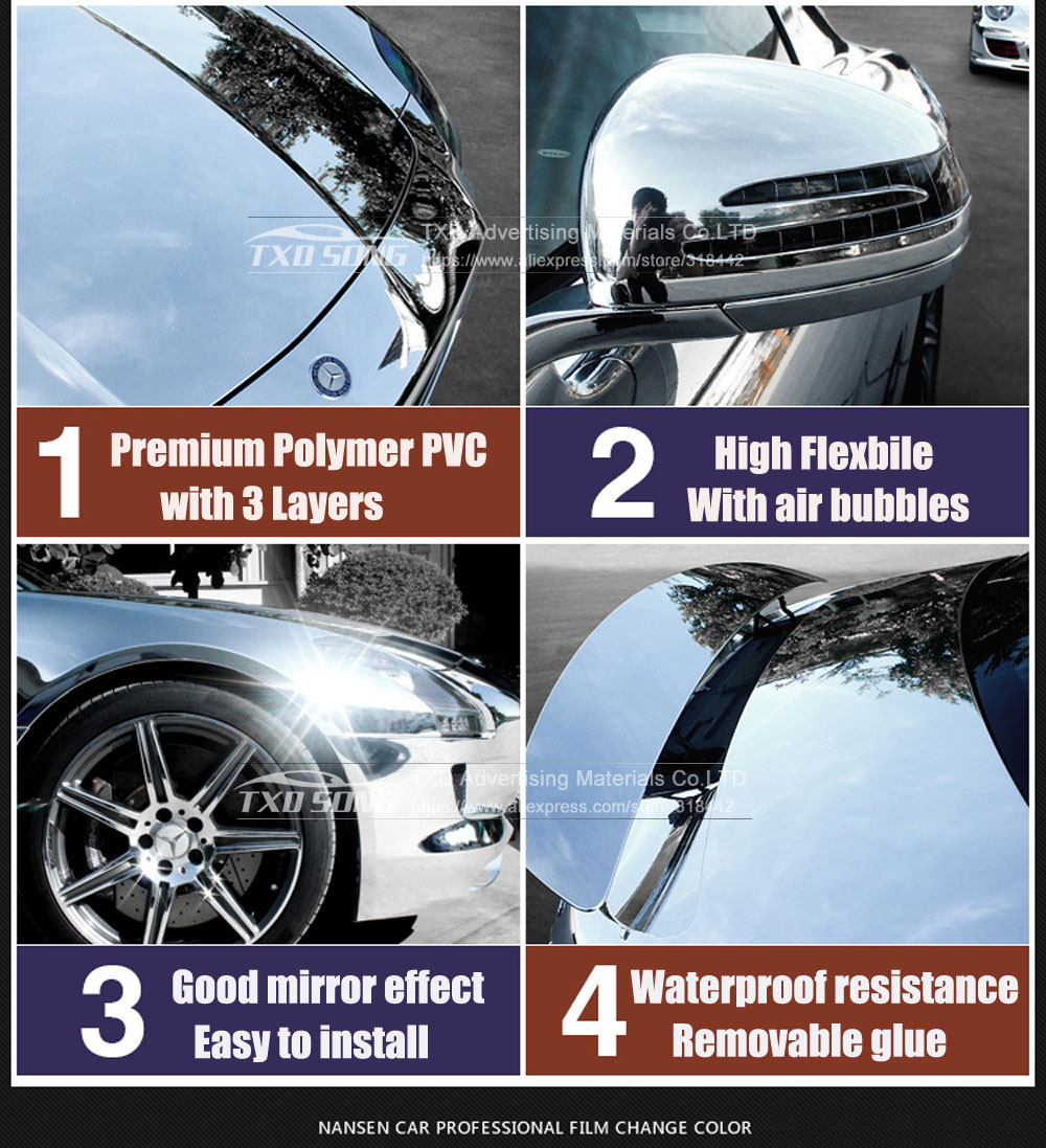 Image 3 - 50CM*1M/2M/3M/4M/5M High stretchable mirror silver Chrome Mirror flexible Vinyl Wrap Sheet Roll Film Car Sticker Decal Sheet-in Car Stickers from Automobiles & Motorcycles