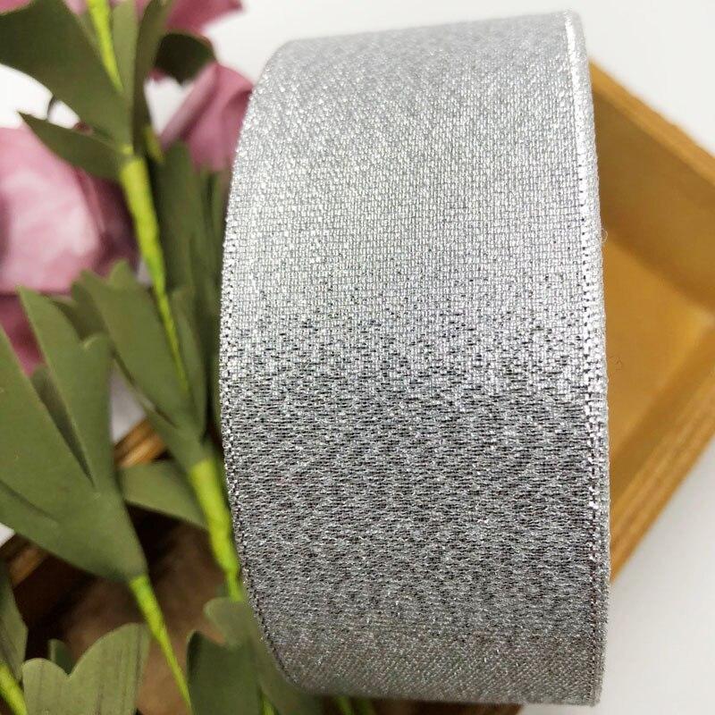 (25 ярдов/рулон) 40 мм металлическая Блестящая лента красочный подарпосылка ленты оптом серебро
