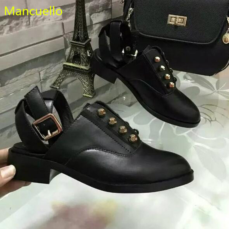 2017 New Arrival Spring Autumn Shoes Women Round Toe Cut-outs Casual Shoes Fashion Metal Detail Slingback Buckle Outdoor Shoes