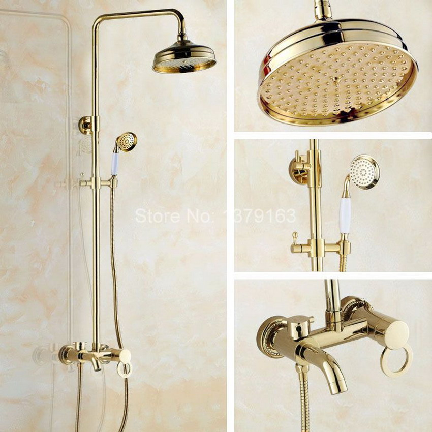 Modern Gold Color Brass Wall Mounted Single Handle