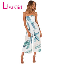 LIVA GIRL Boho Strapless Leaf Print Wide Leg Jumpsuit For Women Plus Size Sleeveless Jumpsuits Casual Summer Holiday Romper XXL
