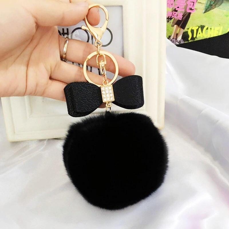 Women Trinkets Leather Rhinestone Keychain Charm Keyring Ball Key Chains Car Bag