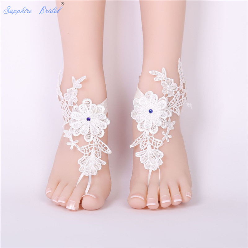 Sapphire Bridal Free Shipping Cute Wedding Barefoot Sandals Beach Wear Anklet Bridal Gloves Foot Lace Yoga Shoes Bridal Gloves