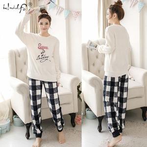 Image 5 - Striped & Flamingo Pajamas Set for Women 2019 New O neck Long Sleeve Flannel Sleepwear Suit Winter Warm Two Piece Set Homewear