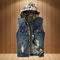 2017 New Fashion Spring Summer Hooded Mens Denim Vest Jacket Men Casual Cowboy Vests Sleeveless Jean