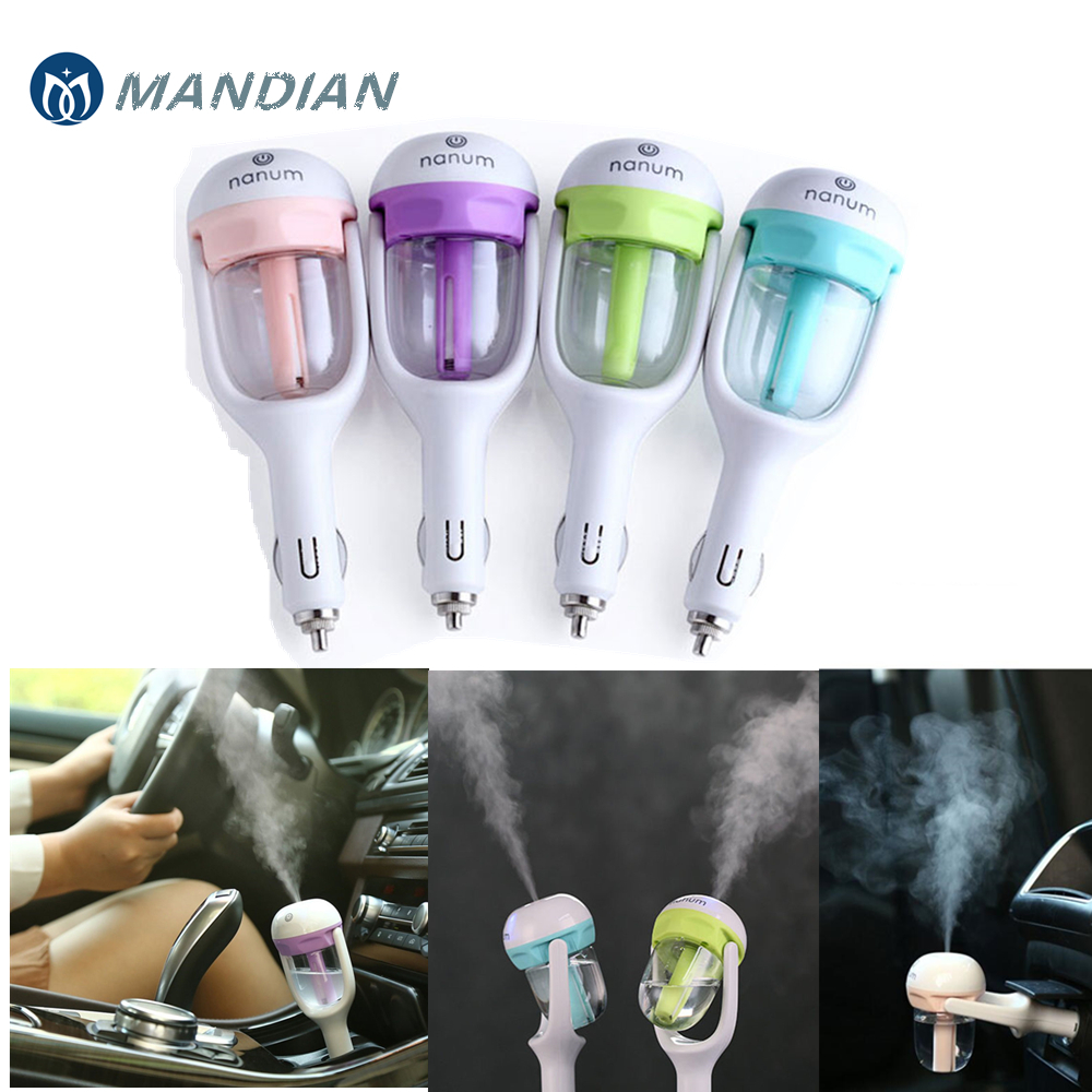 Car charger Freshener Mini Air Humidifier Diffuser Essential Oil Ultrasonic Aroma Mist Purifier 50ml with 2xSpare