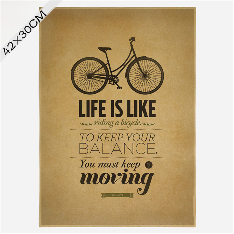 Vintage classic life is like riding a bicycle poster cafe for Life is good home decor