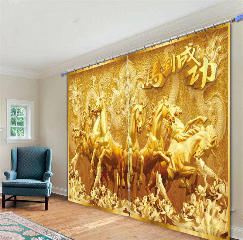Gold horse Luxury 3D Blackout Curtains Drapes For Kitchen Living room Bed room Window Curtains Hotel/Office Wall TapestryGold horse Luxury 3D Blackout Curtains Drapes For Kitchen Living room Bed room Window Curtains Hotel/Office Wall Tapestry