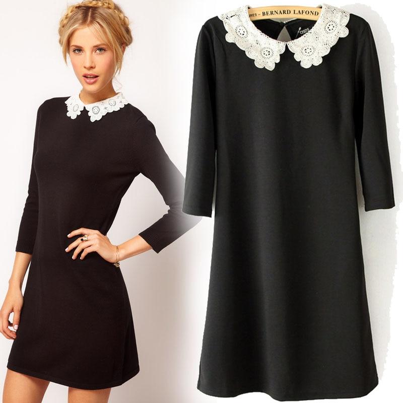 5f5823d83d6d Ladies Fashion Black Dress White LYQ015 Three Quarter Sleeve Lace Collar  Knit Women's Dresses
