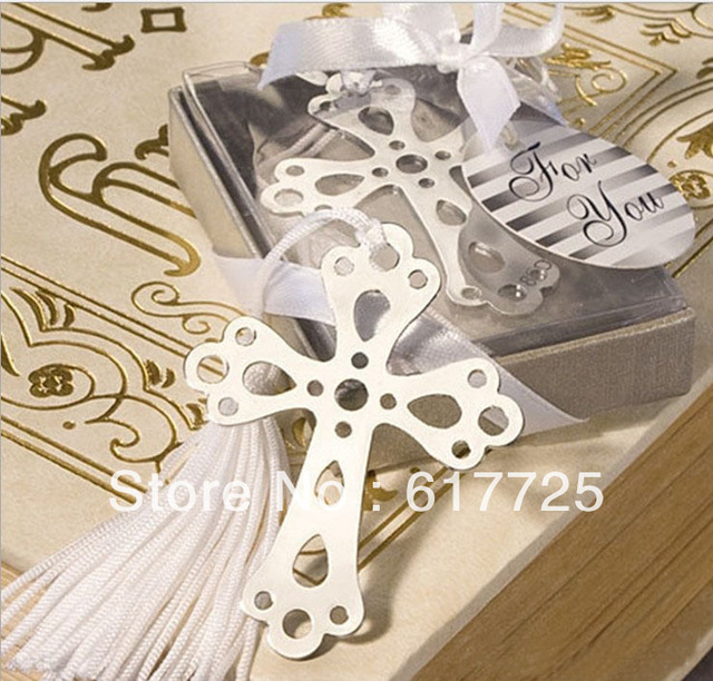 Wedding Favor - 10PCS/LOT Lovely CROSS Metal Bookmark Baby Gift Book Mark, With White Tassel Festival Christmas Gift